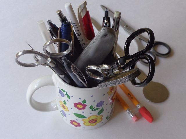Part 6 - Your scissors and pens may start off here but they won't remain here. Image via Pixabay.