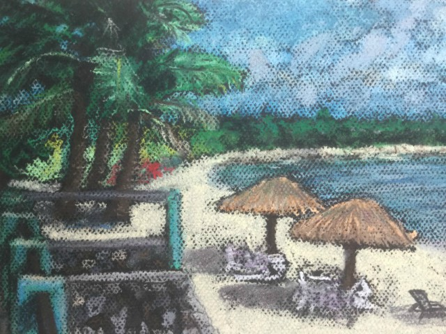 A private beach at Cancun, Mexico. The inspiration here was this was a fantastic opportunity to do a panorama painting with this expressive mediium with parts of the paper showing through.
