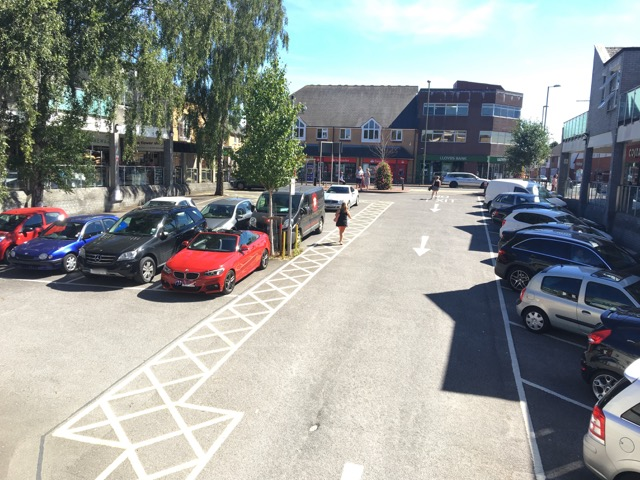 Fryern Arcade in Chandler's Ford (image via P Bellman). Parking restrictions have been removed.