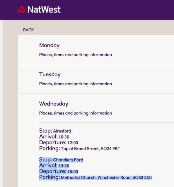 NatWest mobile branch