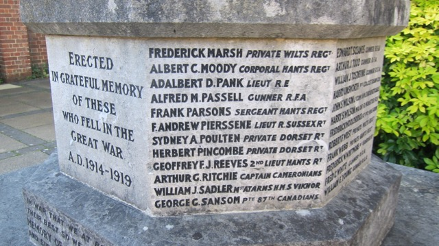 Names on the Chandler's Ford War Memorial
