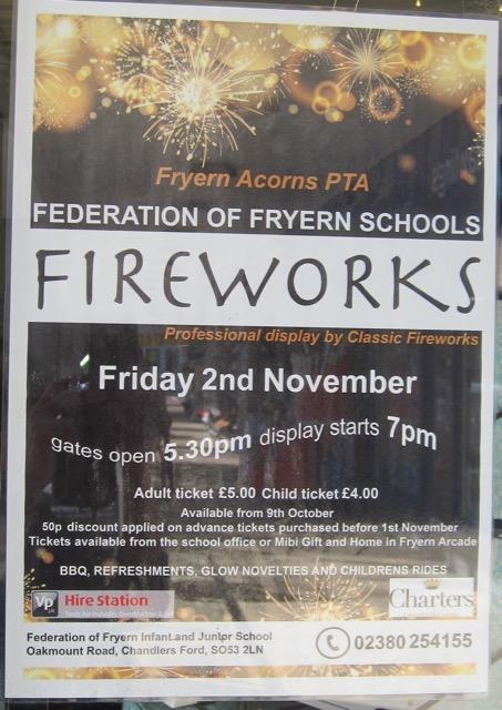Fryern Acorns PTA Federation of Fryern Schools Fireworks: Chandler's Ford: Friday 2 Nov 2018