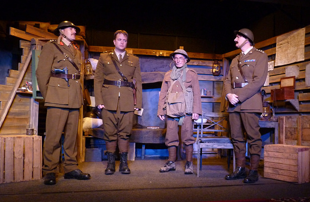 The men - ready to go. Blackadder (Dave Wilkins), Baldrick (Terry James), George (Matt Costen), and Darling (Jon Duke).