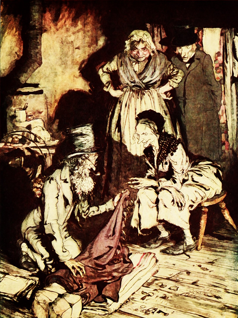 Counting out Scrooge's belongings when he is thought to be dead - a vision shown to Scrooge by the Ghost of Christmas Yet to Come - Pixabay