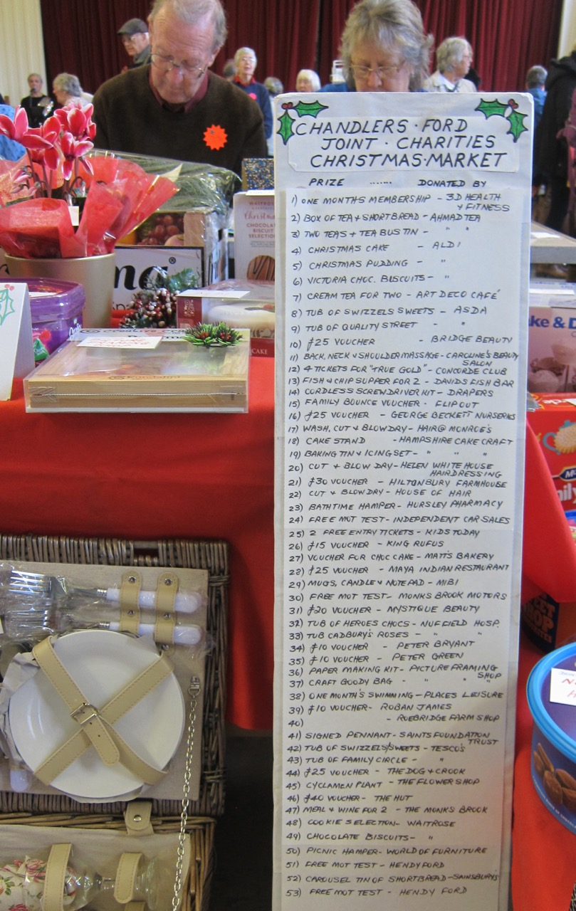 OMG! A long list of prizes from shampoo, restaurant meals, to Saints tickets. (Enlarge to read)