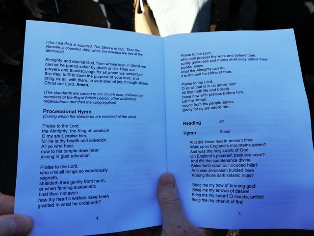 The programme of the Remembrance Sunday service