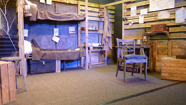 The minimalist sets of the stage in Blackadder Goes Forth