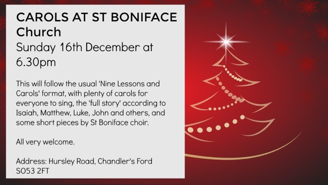 Carols at St Boniface Church 16th December 2018