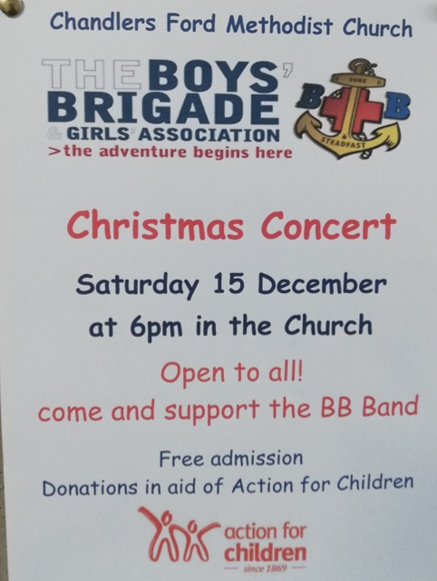 Boys' Brigade Christmas Concert: Saturday 15th December