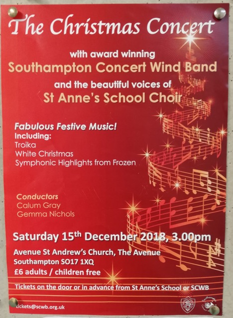 Christmas Concert Southampton 15th Dec 18