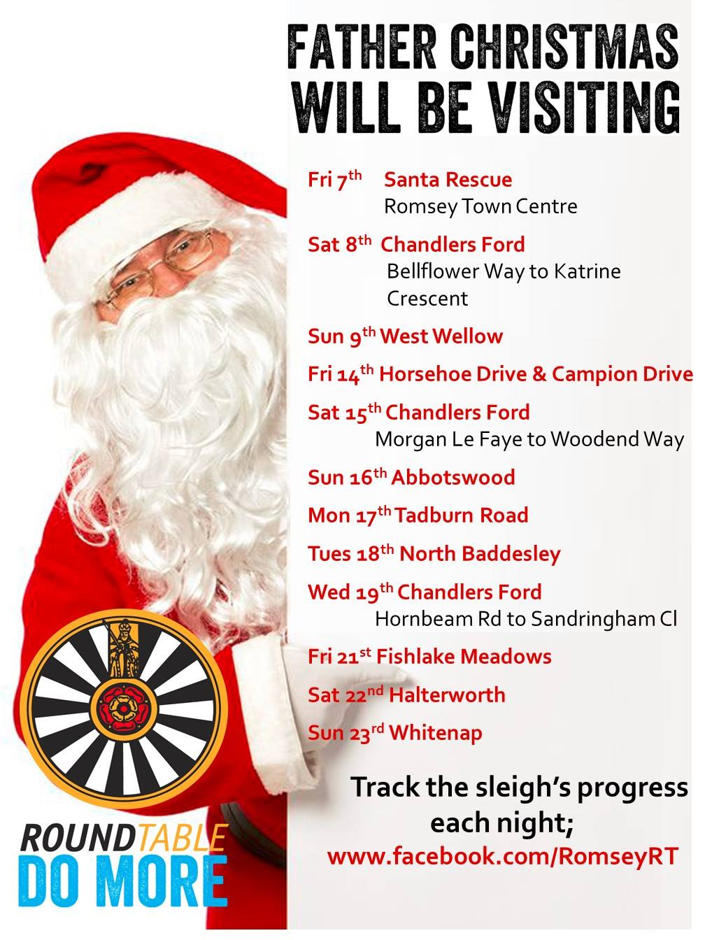 Father Christmas visiting Chandler's Ford - the timetable