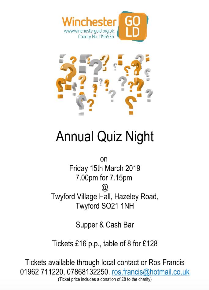 Winchester Go LD annual quiz night: 15th March 2019