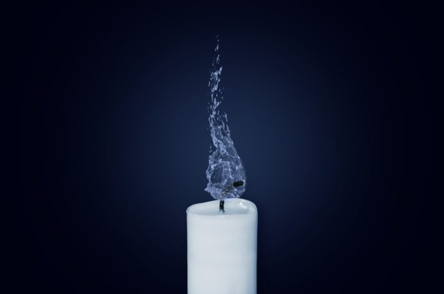 candle and water