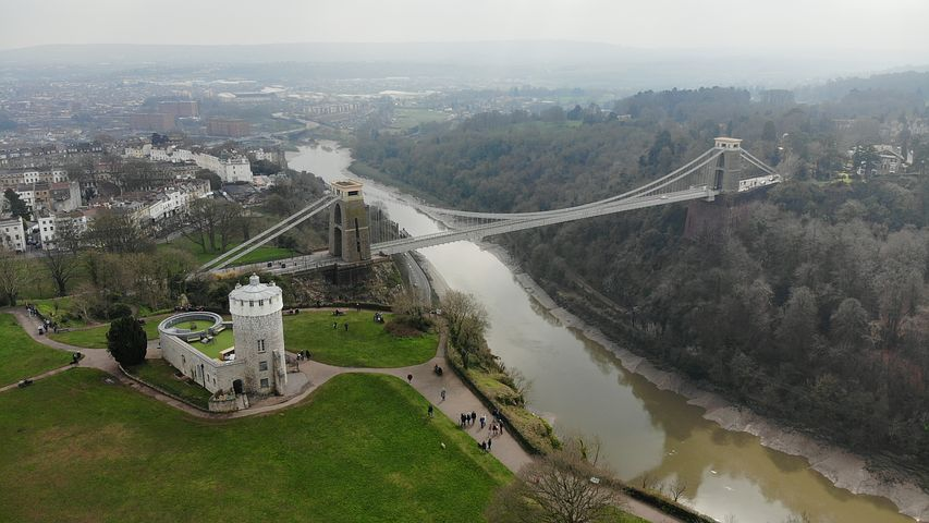 Looking down on one of Brunel's finest legacies - the Clifton Suspension Bridge - Pixabay