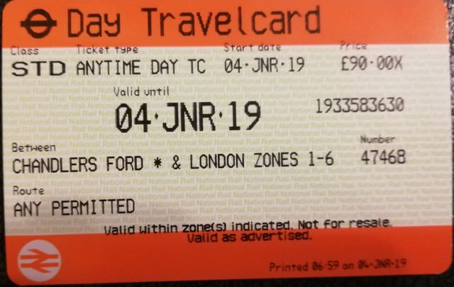 £90 from Chandler's Ford to London during peak time
