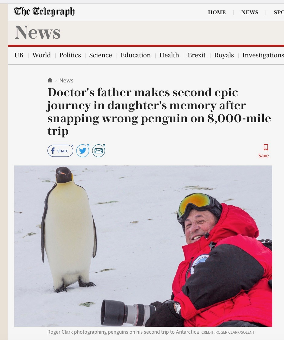 Roger made second epic journey in Lisa's memory after snapping wrong penguin on 8,000-mile trip