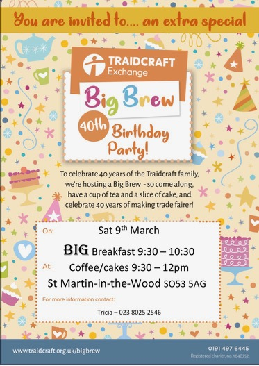Big Brew Party: 9th March at St. Martin in the Wood Church.