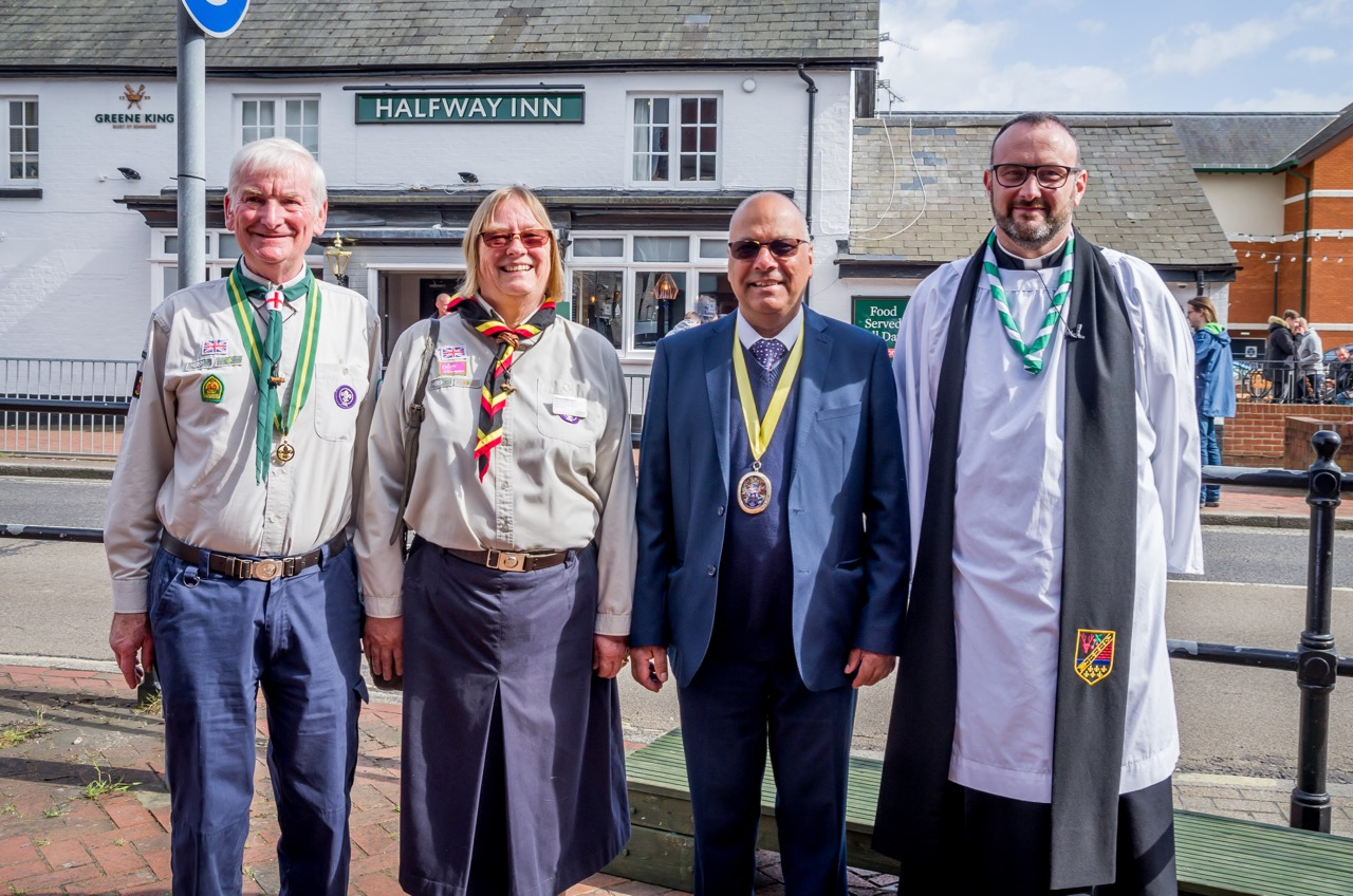 (left to right) District Commissioner Chandler's Ford John Leeks, Deputy County Commissioner Donna Kerrigan, Deputy Mayor Councillor Darshan Mann and Rev Garry Roberts. Image credit: Debbie Pearce Photography