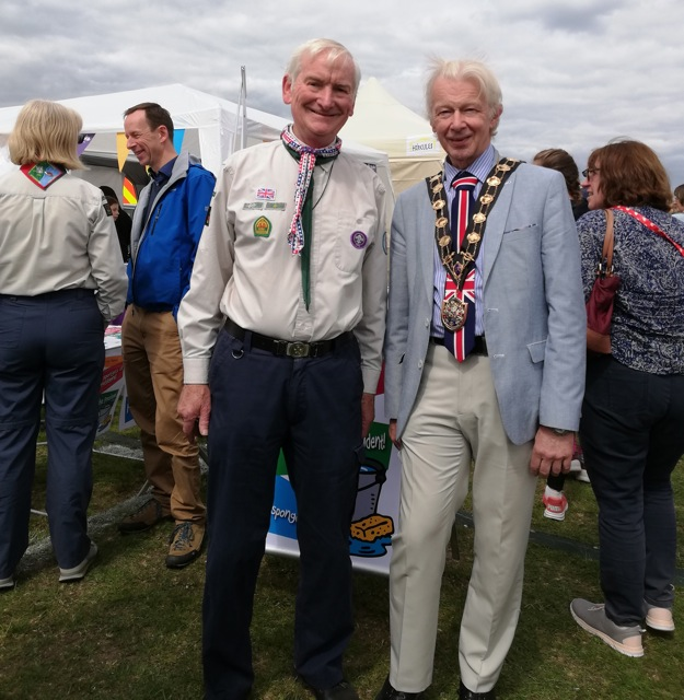 The Scout's District Commissioner Chandler's Ford John Leeks with The Mayor of Eastleigh 2018 – 2019 Councillor Bruce Tennent