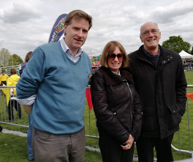 (left) Steve Brine, MP for Winchester and Chandler's Ford, talking to Lionel Elliott of The Chameleon Theatre and his wife Sue Elliott at the Fryern Funtasia.