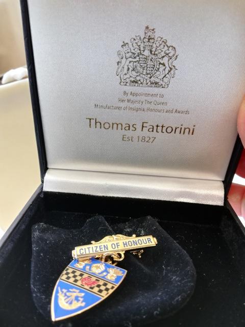 Citizen of Honour badge for Audrey Steele