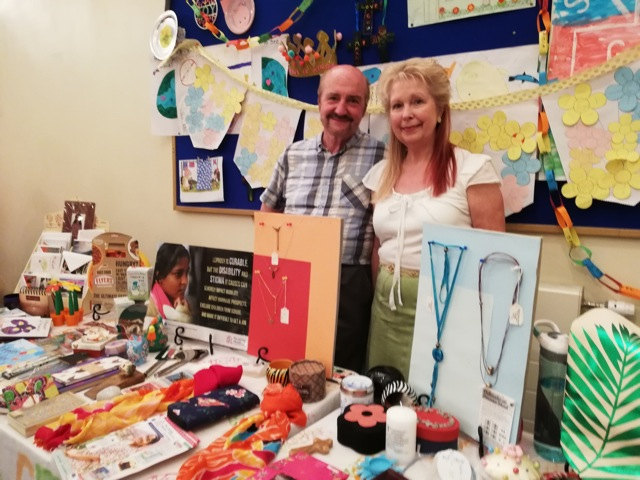 Heather and Bob Dibb - selling in aid of the Leprosy Mission.