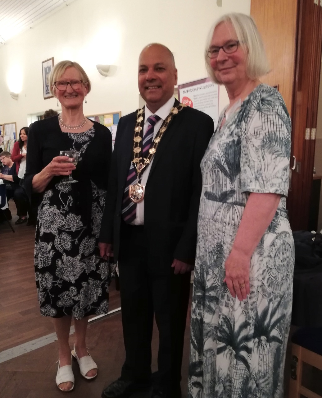 Eastleigh's Mayor Councillor Darshan Mann with Tricia Urquhart and Sue Moll.