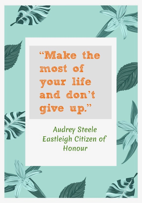 """Audrey Steele encourages all of us to """"keep going""""."""