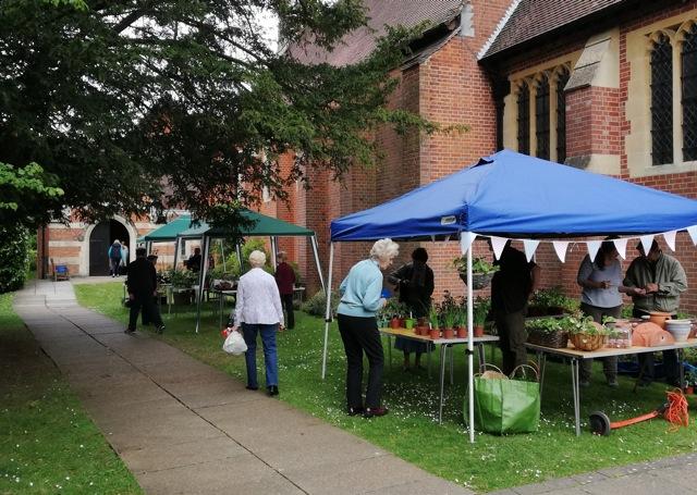 Plant sales outside St Boniface Church on Hursley Road.