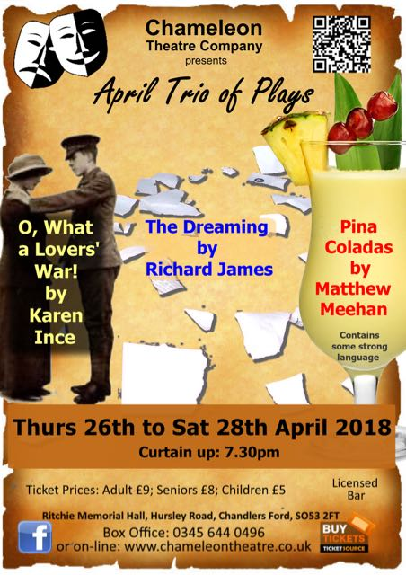 The Chameleons: April Trio of Plays: Thursday 26th - Saturday 28th April 2018