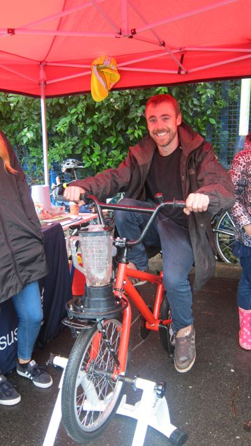 Remarkable! Bike Doctor Tom powered his juice-blender on his bike.
