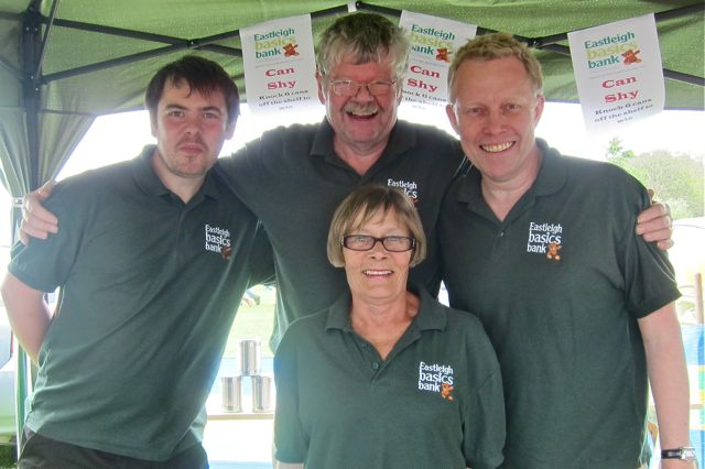 Eastleigh Basics Bank: (from left) Dan, shop manager Dave Keating, Dom, and Angela.