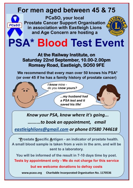 PSA blood test Eastleigh Lions