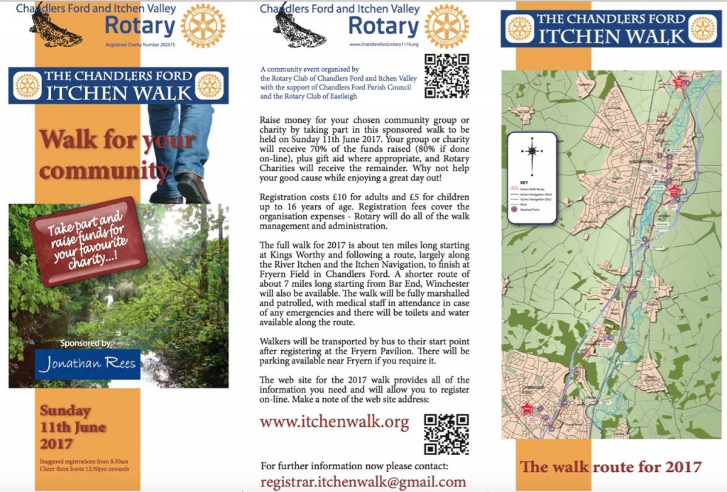 Rotary Club Chandler's Ford Itchen Walk Sunday 11th June 2017