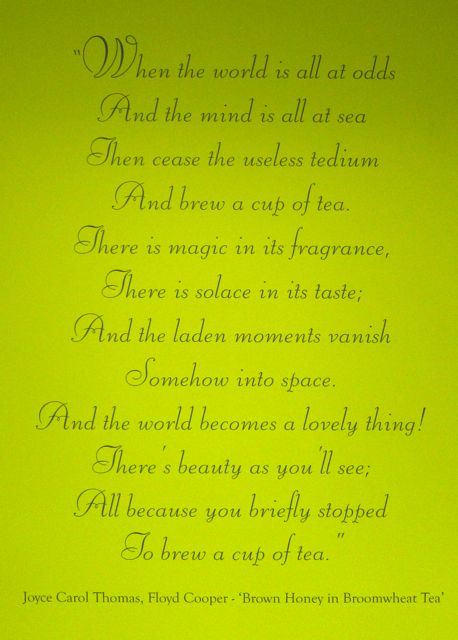 Ahmad Tea poem on the wall