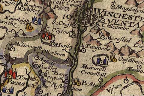 "Old map of Hursley via <a href=""http://commons.wikimedia.org/wiki/File:Old_Map_Hursley_1607.jpg#filelinks"">Wikimedia Commons</a>."