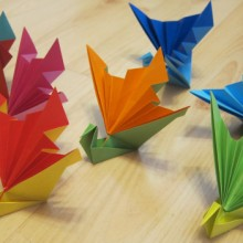 origami fan cranes made by Janet