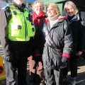 Fairtrade campaigners in Eastleigh with a police officer today.
