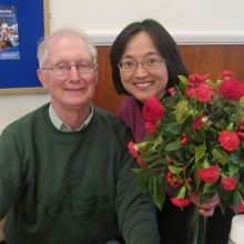 Janet was the lucky winner of the beautiful flowers arranged by Alan Page .