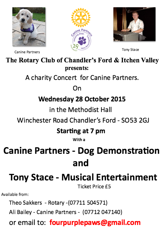 Rotary Club Chandler's Ford and Itchen Valley concert for Canine Partnets