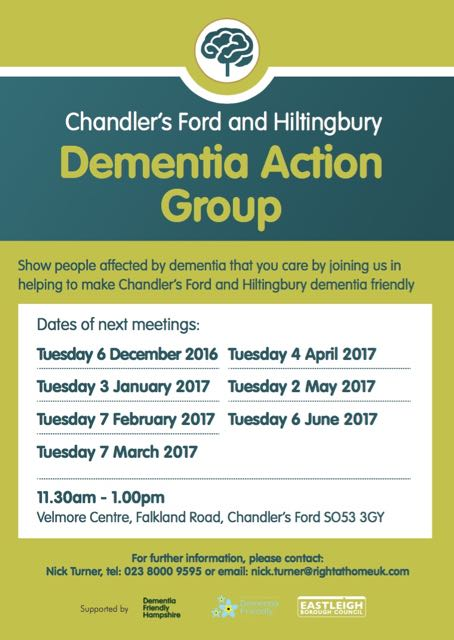 Chandler's Ford Hiltingbury Dementia Action Group 2016 and 2017