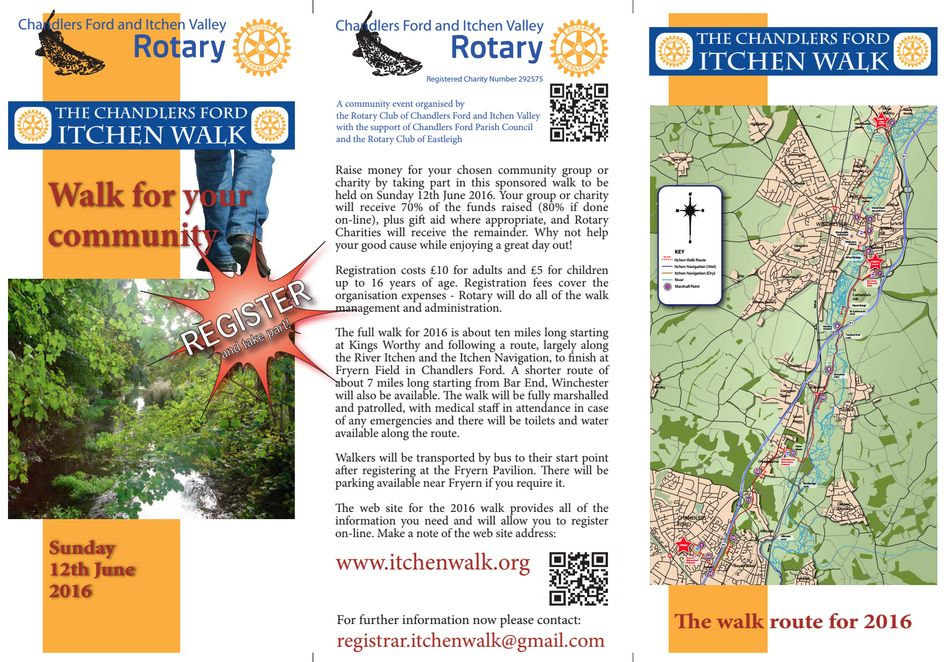 Chandler's Ford Itchen Walk Sunday 12th June 2016 Rotary Club