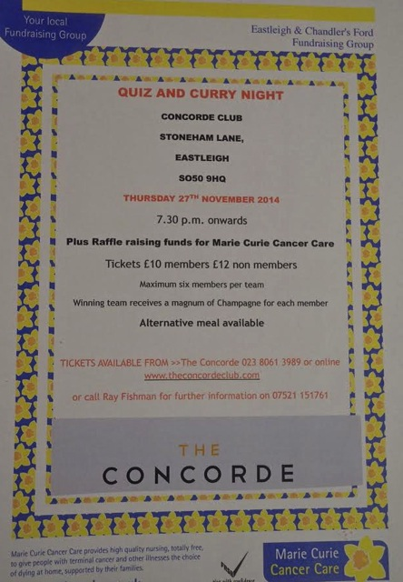 November 2014 fundraising for Marie Curie at Concorde Club.