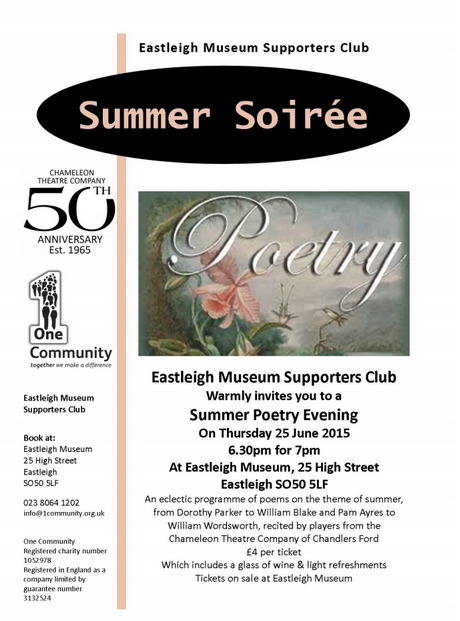 Summer poetry evening at Eastleigh Museum