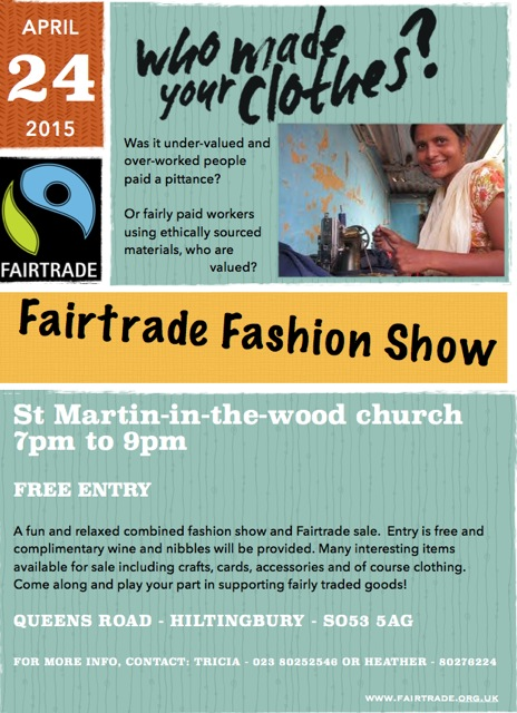 Chandler's Ford Fairtrade Fashion Show 24 April 2015 at St. Martin in the Wood Church, Hiltingbury.