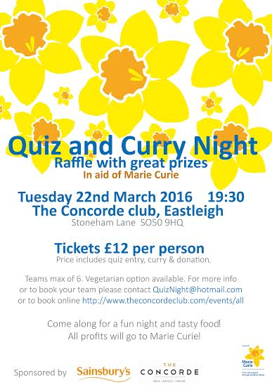 Marie Curie Quiz and Curry 2016