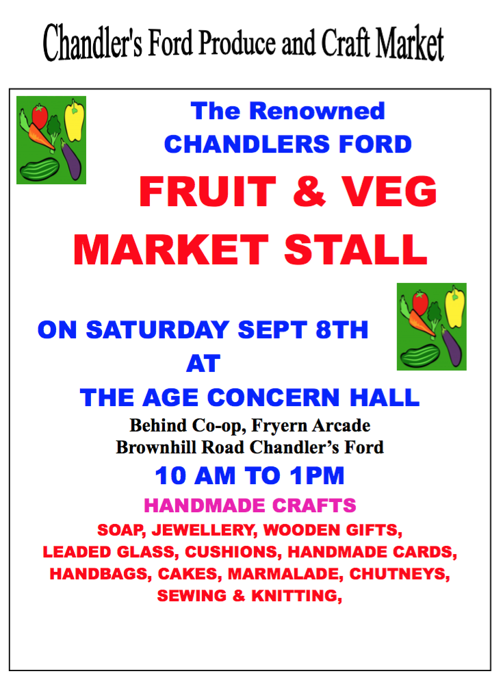 Produce and craft market, Saturday 8th September