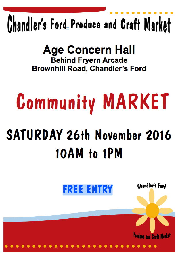 Produce and craft market A4 poster 26th November 2016