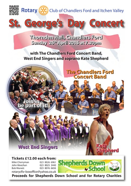 St. George's Day concert: Sunday 26 April 2015 at Thornden Hall.