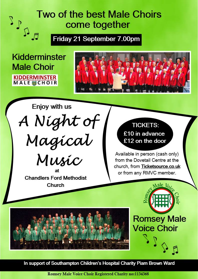 Romsey Male Voice Choir host the Kidderminster Male Choir for a night of Magical Music. Tickets available from the Dovetail Centre at the church, from Ticketsource or from any RMVC member. £10 in advance or £12 on the door.
